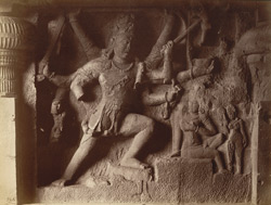 [Sculptured panel of Shiva spearing Andhaka in Hindu Cave XXIX (Dumar Lena), Ellora.]